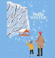 hello winter snow landscape bird feeder with vector image vector image