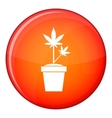 Hemp in pot icon flat style vector image vector image