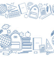 horizontal seamless borders of education items vector image vector image