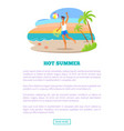 hot summer vacation abroad advertisement banner vector image