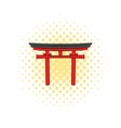 Japan gate icon in comics style vector image vector image
