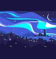 landscape northern lights vector image