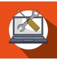 laptop computer data icon vector image
