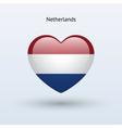 Love Netherlands symbol Heart flag icon vector image
