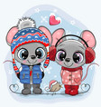 mouses boy and girl in hats and coats vector image vector image