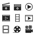 movie filmmaking glyph icons set vector image