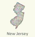 New Jersey line art map vector image vector image