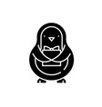 penguin black icon sign on isolated vector image