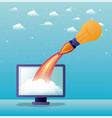 rocket start up with desktop computer vector image