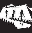 runway models on fashion show in black and white vector image vector image