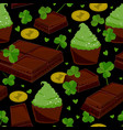 seamless st patricks day background with clover vector image vector image