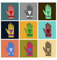 set of icons in flat design glove vector image