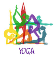 Seven silhouettes of girl in yoga poses vector image