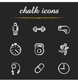 Sport chalk icons set vector image