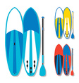 stand up paddle boards and paddles set in vector image vector image