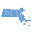 State map of Massachusetts by counties vector image