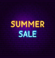 summer sale text neon label vector image vector image