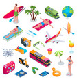 summer vacation isometric icons set vector image