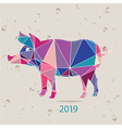 The 2019 new year card with Pig made of triangles vector image vector image