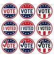 vote and i voted political election logo set vector image vector image