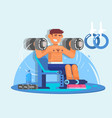 weightlifter training with dumbbell flat style vector image