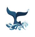 whale tail and waves vector image vector image