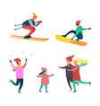 winter hobbies and activities people set vector image
