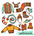 Winter Warm Knitted Clothes Color Set vector image