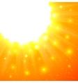 Orange shining sun with flares vector image