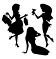 Girl silhouettes set vector image