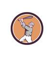 American Baseball Player Batting Homer Circle vector image