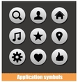 application pictogram symbols set silver color vector image vector image