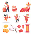 asian new year happy chinese people celebrate vector image vector image