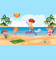 background scene with kids playing on beach vector image vector image