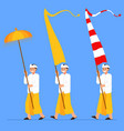 balinese boys carry long flag and umbrella vector image vector image