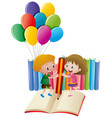 boy and girl writing on book vector image