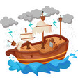 broken yacht cartoon by storm vector image vector image