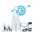 business success trophy stairs target flag search vector image