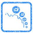 candlestick chart dashcoin deflation framed stamp vector image vector image