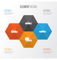 car icons set collection of car carriage fixing vector image vector image