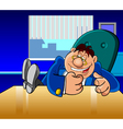 cartoon director man banged his fist on the table vector image vector image