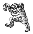 cartoon image of bandaged mummy vector image vector image