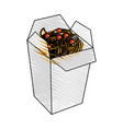 color crayon stripe cartoon box with noodles food vector image