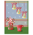 Cup of tea and Christmas holidays decorations vector image