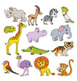 cute cartoon various african animals set color vector image