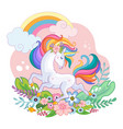 cute white unicorn character with rainbow vector image