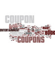 entertainment coupon book register text vector image vector image