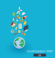 environmental integrated 3d web icons growth and vector image vector image