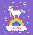 fantastic fairy tale unicorn color mane sharp horn vector image