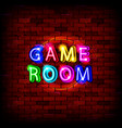 game room neon sign vector image